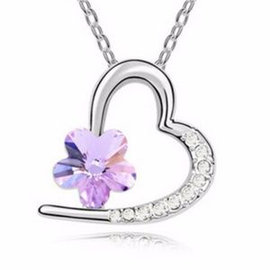 Jewelry - Silver Plated Purple Crystal Pendant Heart Charm